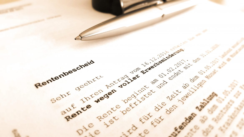 Rentenbescheid über Rente wegen voller Erwerbsminderung