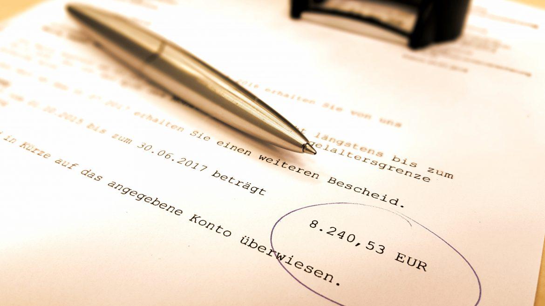 Bescheid mit Rentennachzahlung nach geändertem Leistungsfall